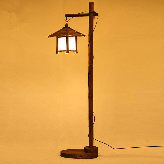 Vintage Bamboo Floor Standing Lamp Modern Japan Style
