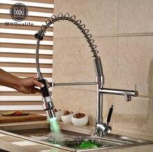 Хромированная отделка светодиодные Весна вытащить/вниз, Кухонная мойка кран Одной ручкой латунь кухни смесители одно отверстие