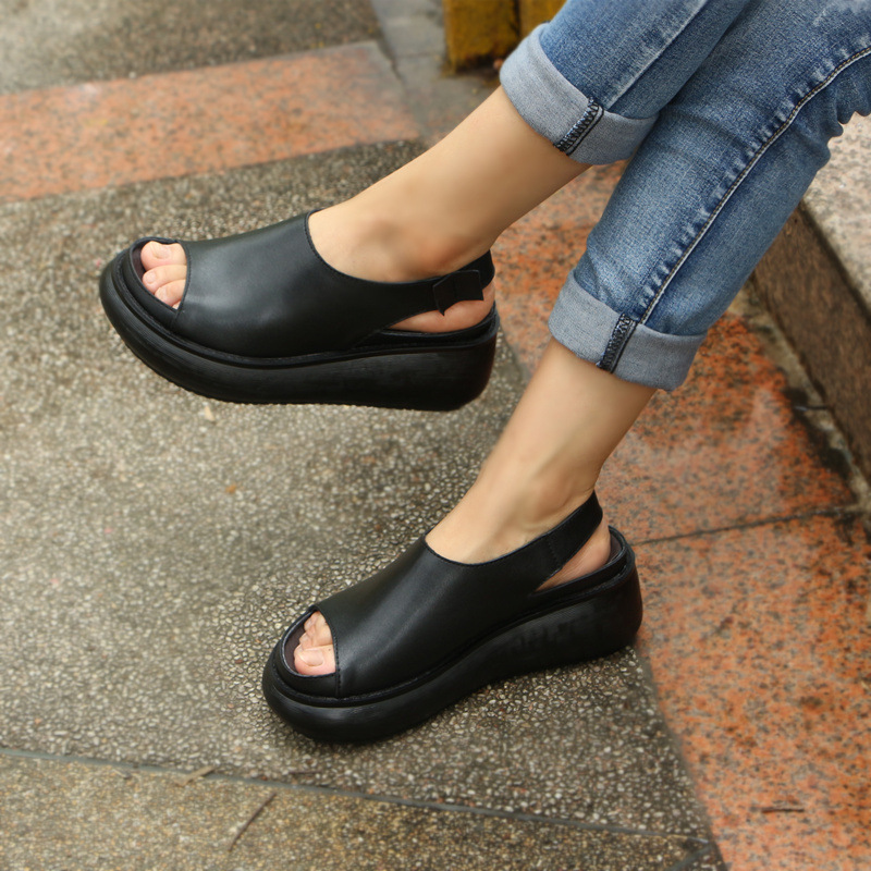 New ethnic style retro Sen female cowhide thick bottom wedge fish mouth sandals women casual soft bottom women's shoes 2017 summer new fish mouth female sandals breathable net yarn thick bottom glitters high heels casual lace women shoes