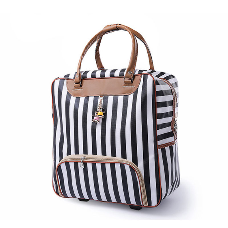 Luggage Suitcase Travel-Bag Wheels Brand Hot-Fashion Women New Casual Stripes