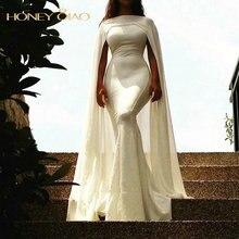 Honig Qiao Weiß Abendkleider 2016 High Neck Satin und Chiffon Mermaid Cape Bodenlangen Weiß Prom Kleider Saudi-arabien