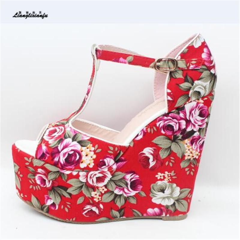LLXF 15cm High-heeled Sandals Sexy Summer Shoes woman Stiletto female T-strap Printed Pumps Small Yards:30 31 32 33 Plus:42 43 sy 8pcs portable professional makeup brushes set for bb cream powder beauty makeup