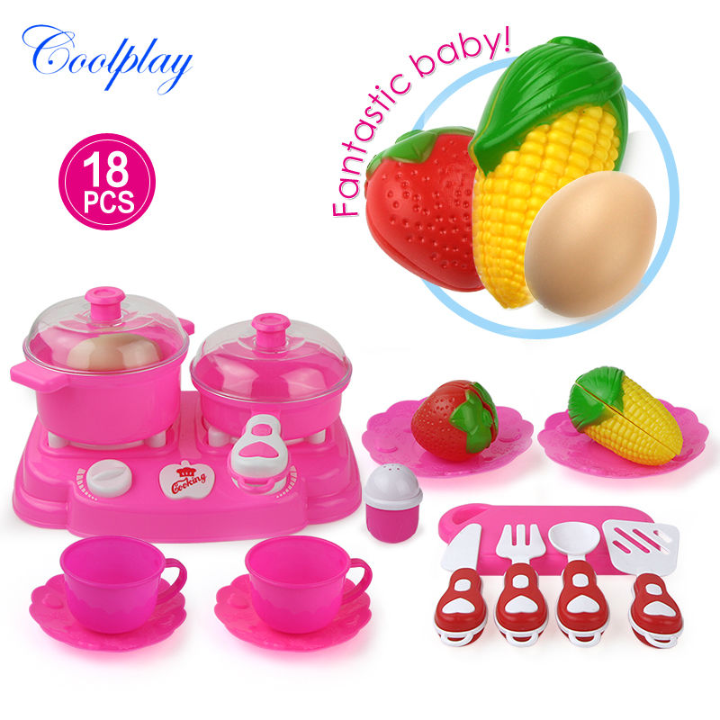 Coolplay 18pcs Pink Kids House Children Kitchen Toys For Girls Cooking Food Dishes Cookware Pretend & Play Kitchen toys }