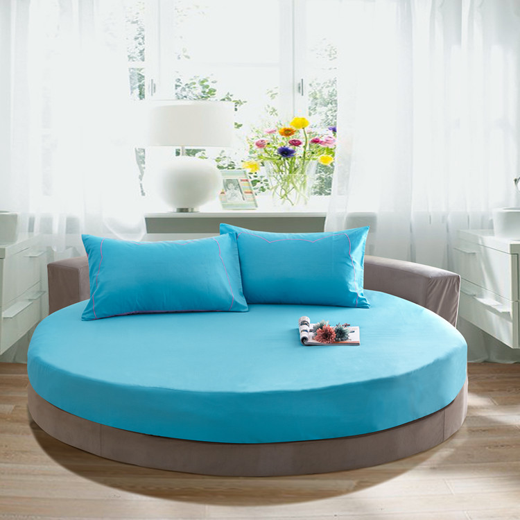 3 Pcs Solid Color Cotton Round Fitted Sheet Set Round Bed Sheet Bedding Set Customizable Mattress Diameter 200cm 220cm