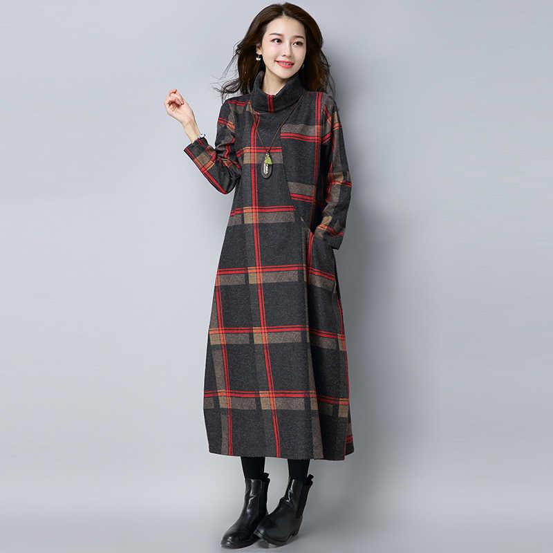 Зимнее шерстяное женское винтажное клетчатое платье с высоким воротом, длинное платье, женское свободное Повседневное платье больших размеров SS4850