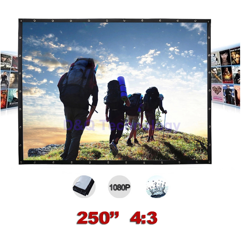250 inches 4:3 Portable Projector screens Canvas Folding Outdoor Projection Screen for Travel, Large-scale exhibition hd projector projection screen 300inch 16 9 format outdoor fast folding frame screens for camping music party