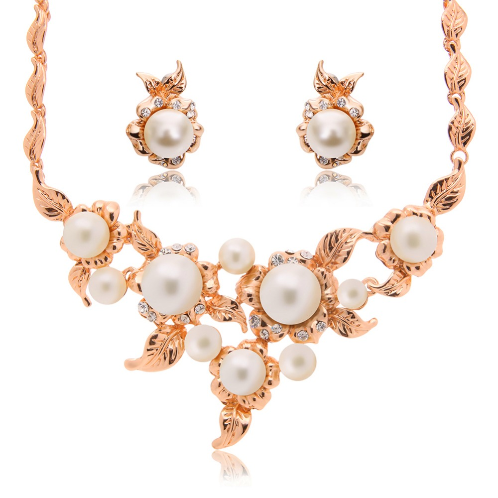 Luxury Brides Dubai Balance Jewelry Sets Exquisite Multiple Imitated Pearl  Necklace Trendy Women Earrings Wedding Bijoux