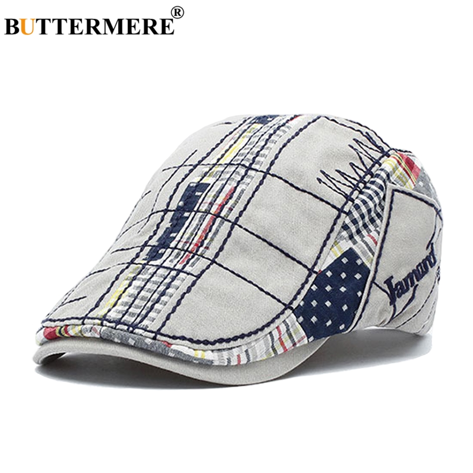 BUTTERMERE Berets-Caps Driving-Hats Spring Embroidery Plaid Gatsby-Style British Autumn