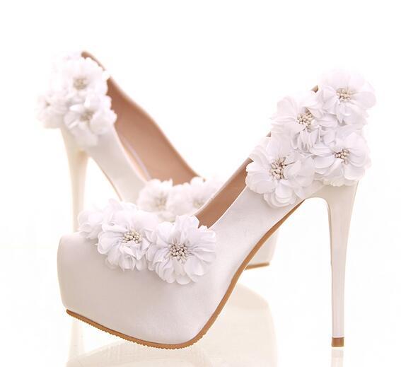 ФОТО Silk satin red lace flowers diamond wedding shoes TG614 round waterproof platform fine heels banquet shoes