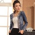 Denim Chaqueta de Las Mujeres Abrigos Ropa de Invierno Básica 2017 Tramo Baru Berlian Imitasi Jeans Jacket Women Pendek Delgado Lengan Panjang