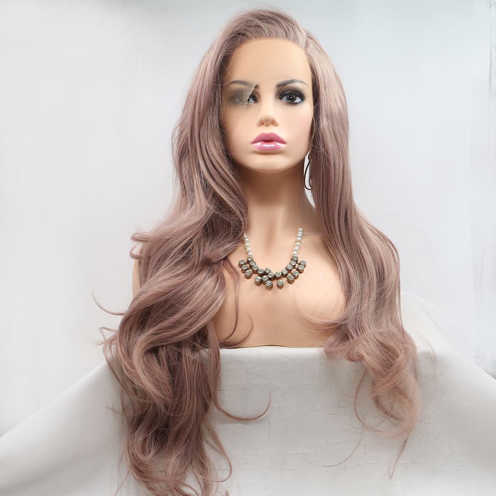 Fantasy Beauty Ash Pink Lace Front Wigs Long Wave Synthetic Lace Wig Hair Replacement Wigs for