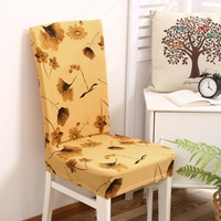 YCHTYS Yellow Leaves Printing Chair Covers For Home Decoration Universal Stretch Chair Covers Elastic Pastoral Chair
