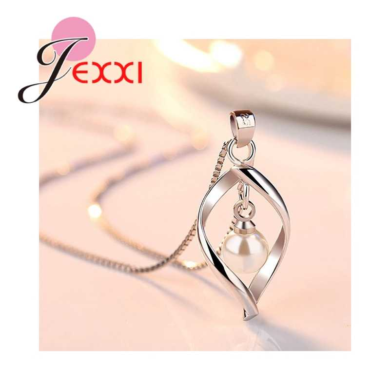 High Quality Jewelry Geometric Arc 925 Sterling Silver Necklace Earrings Set With Pearl For Women Female Party Engagement