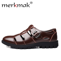 Merkmak Men Sandals Genuine Leather Sandals Men Breathable Outdoor Casual Male Beach Shoes Man Flat Big Size 38 47 Drop Shipping
