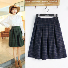 England Style Vintage Skirt Women Fashion New Winter Woolen Plaid Skirt Female High Waist All-Match Umbrella Skirt C1218