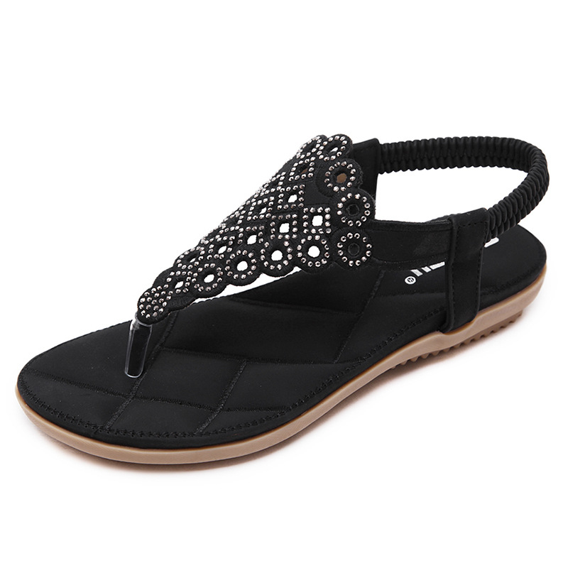GOXPACER Arrival Fashion Sandals Rhinestone Flats Bohemia Women Summer Style Shoes Women Flat Flip Flops Plus Size 35-41 goxpacer arrival fashion sandals rhinestone flats bohemia women summer style shoes women flat flip flops plus size 35 41