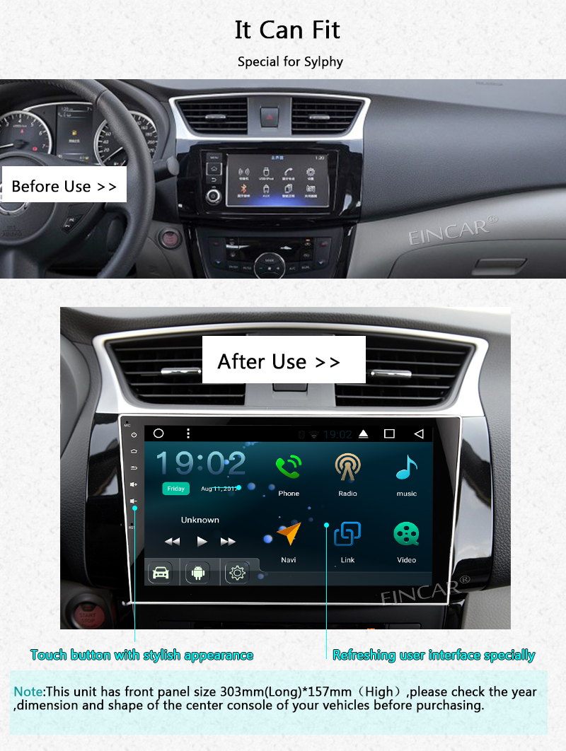 Backup Camera Included! Android 7.1 2 Din Car Stereo Quad Core In Dash GPS Navigation Support Bluetooth AM/FM Radio for Nissan