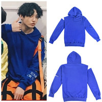 New kpop BTS BT21 Bangtan Boys JUNG KOOK Same Hoody Strapless Shoulder Sweatershirt Blue Autumn Winter Cap Coat