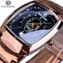 Forsining Creative Rose Gold Skull Quartz Watch Black Men Date Stainless Steel Clock Rectangle Dial Wristwatch Relogio Masculino