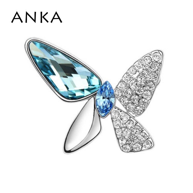 ANKA Мода бабочка брошь булавка броши на одежду Новая мода Кристалл Мода брошь основной камень Кристаллы из Австрия#77455 - Окраска металла: 77451