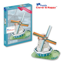 2013 new clever&happy land 3d puzzle model Holland windmill adult puzzle diy paper model educational toys paper