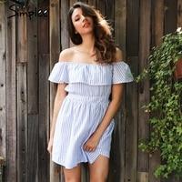 Simplee Off Shoulder Ruffle Striped Summer Dress Casual Hollow Out Backless Short Dress Robe Women Beach
