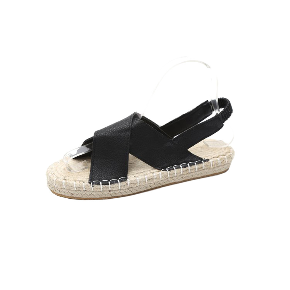 Peep-Toe Elastic Band Cross-Strap Shoes Rome Sandals Concise Flat Bottom Espadrilles Holiday Sandals Womens Roman Flat Sandals
