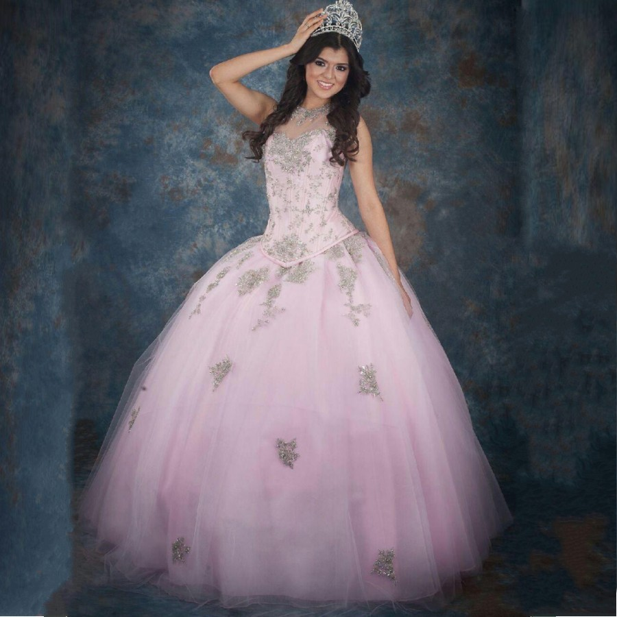 Modern Online lace appliques Party sheer Neck Crystals Beaded Tulle Ball prom Gown Quinceanera 2018 mother of the bride dresses