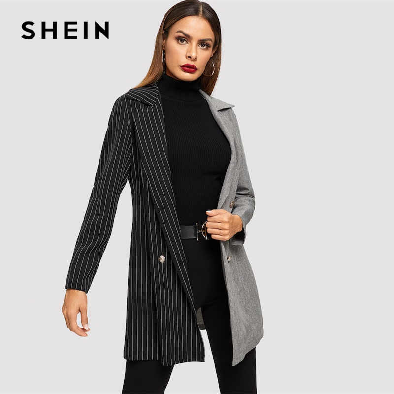 4a0967048b54 Detail Feedback Questions about SHEIN Notch Collar Colorblock Striped  Multicolor Double Breasted Long Sleeve Coat Autumn Modern Lady Women Coat  Outerwear on ...