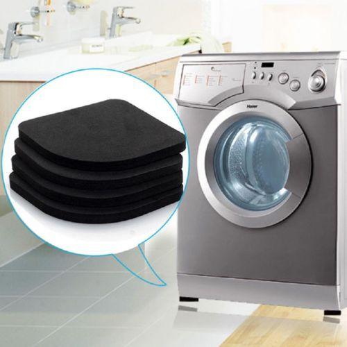 Black Washing Machine Pads Anti Noise Vibration Non Slip Walking Dryers 4Pcs Good protection for electrical appliances