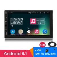 Android 8,0 Восьмиядерный 2din мультимедийный плеер 4G + 32G Универсальный автомобильный радиоприемник Bluetooth 4,0 стерео gps навигация 7 сенсорный 1024x600 HD