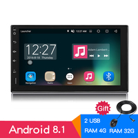 Android 8.0 Octa Core 2din Multimedia Player 4G+32G Universal Car Radio Bluetooth 4.0 stereo GPS Navigation 7 Touch 1024x600 HD