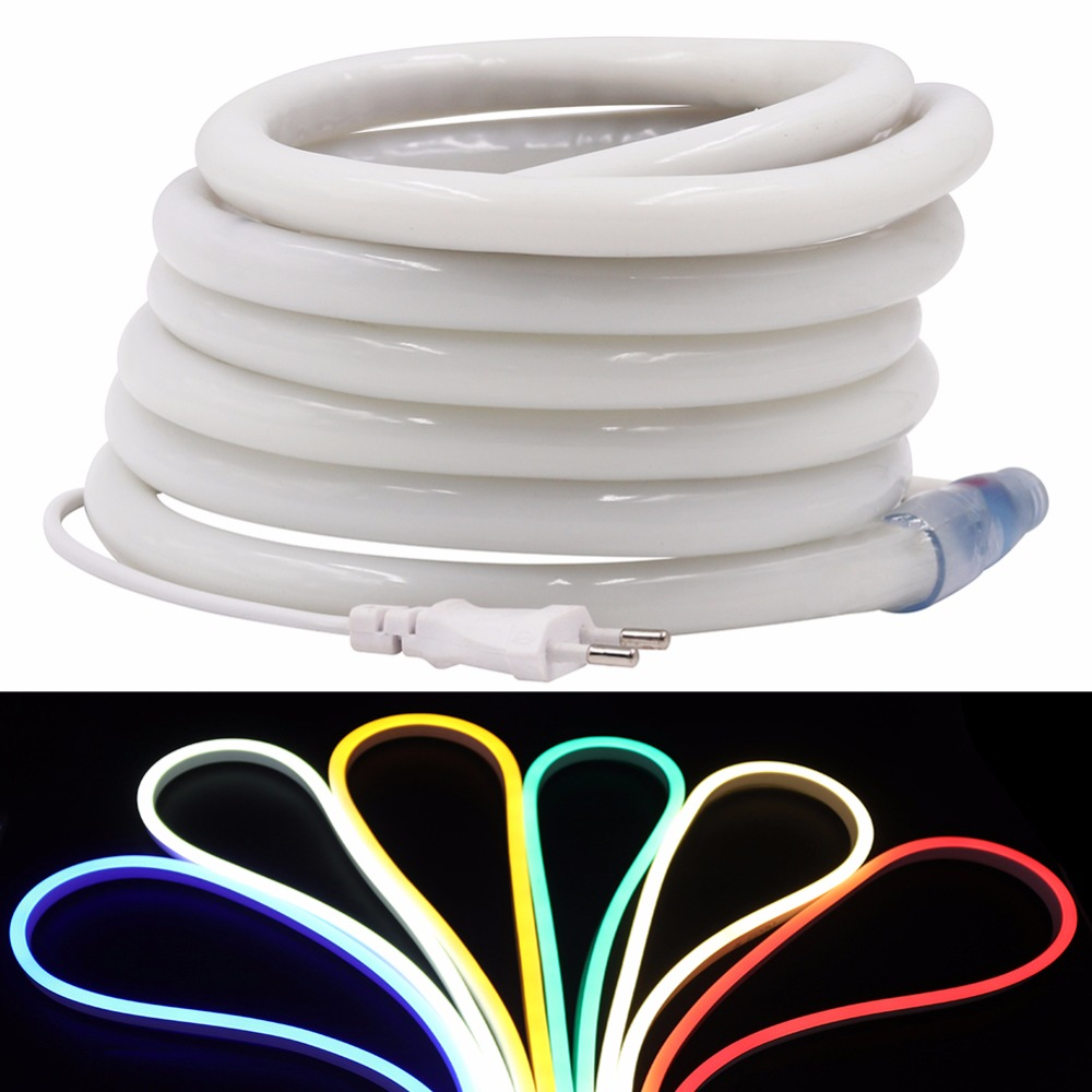 220V Flex LED Neon Rope Light RGB 5m 3m 1m 25m 50m 100m Indoor Outdoor for Holiday Party Valentine Decor Blue Yellow White neon yellow