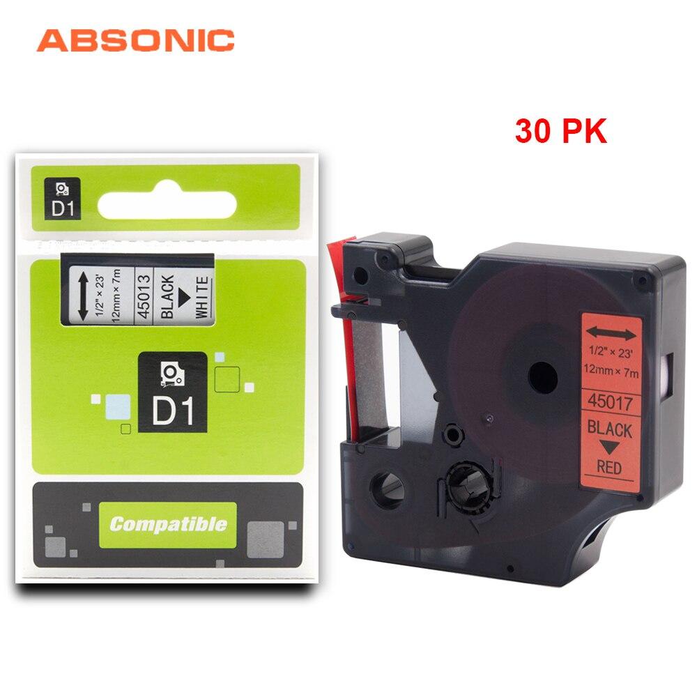 Ruban imprimante Absonic 30 pièces 12mm DYMO D1 45017 noir sur bande rouge Compatible pour Dymo LabelManager PnP 220 P 360D 450D Labelmaker