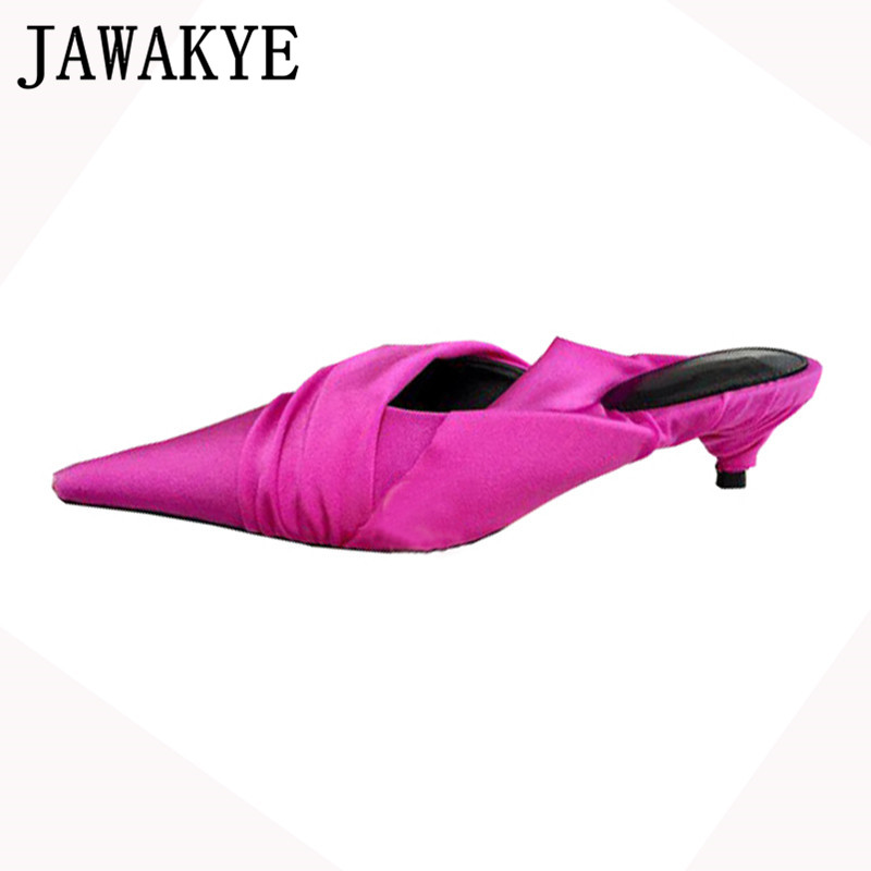 Candy color Pointed toe Slippers women genuine leather sandals pleated wrinkled flip flops kitten heels mules