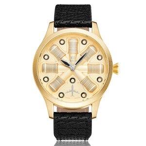 Image 5 - גברים שעון מטוס מנוע חקוק גברים של חיוג גדול זכר יד שעונים B uhr פיילוט ספורט שעוני יד Reloj טייס Mens שעון