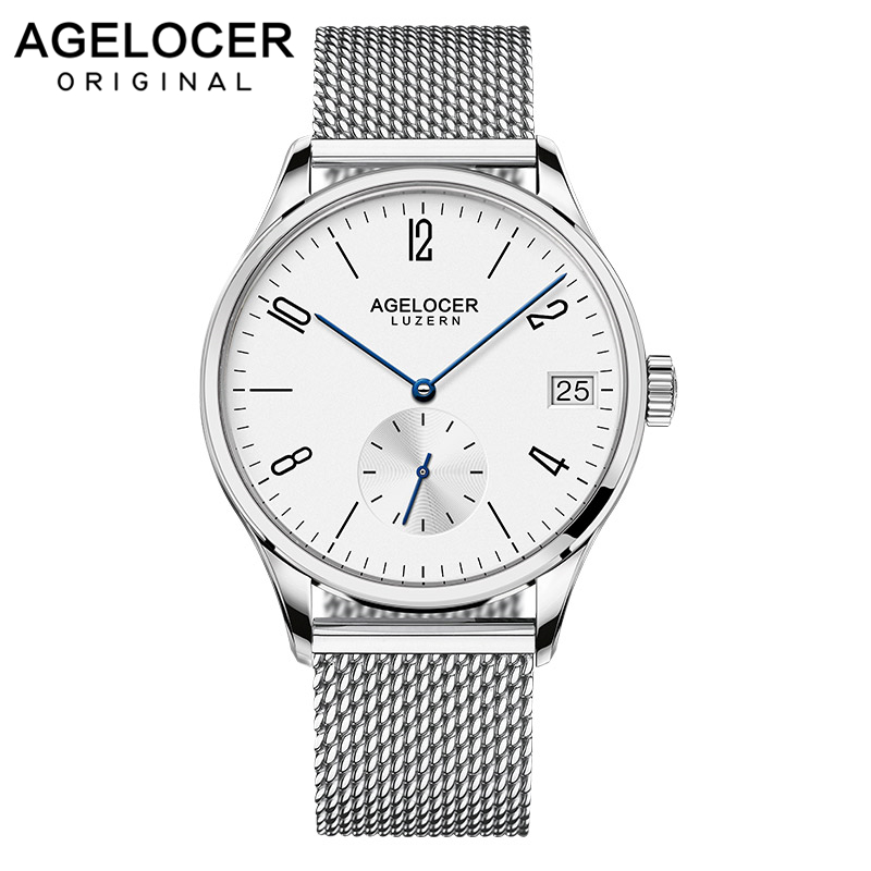 AGELOCER Swiss Sport Watch Military Wrist Watches Men Mesh bracelet Silver Clock man Hands France Leather Watches Montre Homme Наручные часы