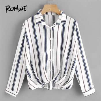 ROMWE Womens Tops and Blouses Pleated Gathered Front Dip Hem Striped Shirt Blouse 2018 Fall Women Long Sleeve Casual Ladies Tops blouse