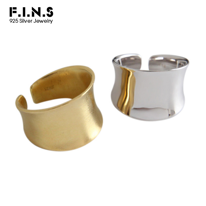 f3a385a96 F.I.N.S Classic 925 Sterling Silver Rings for Women Silver Golden Glossy  Brushed Finger Ring Wide Open