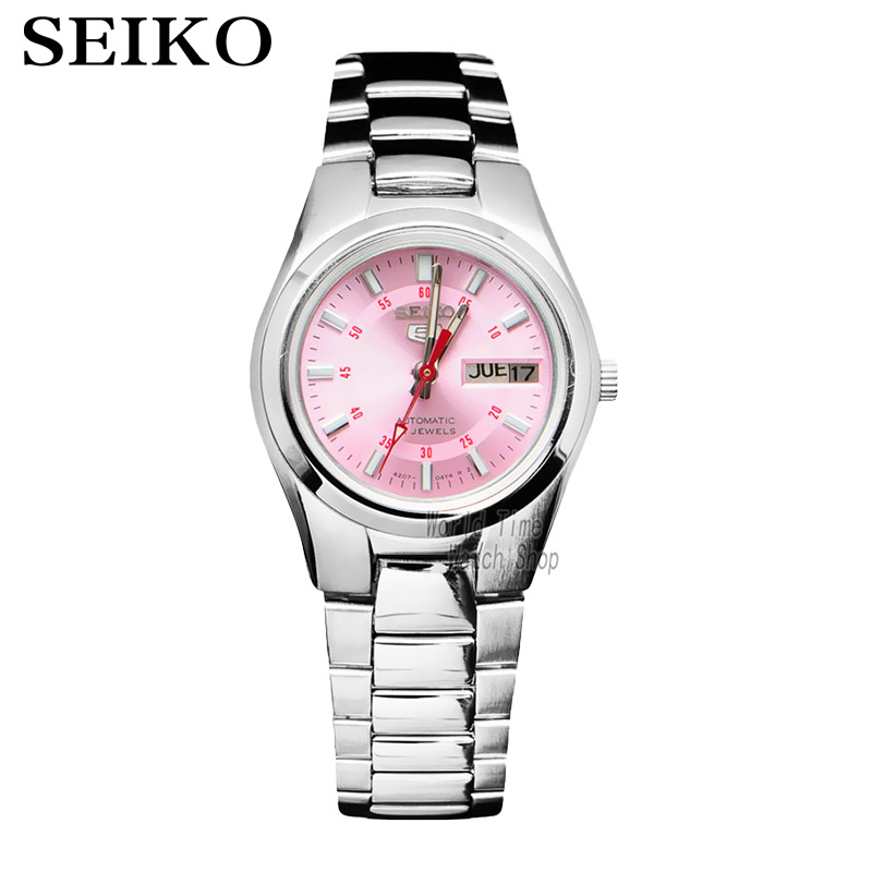 лучшая цена SEIKO Shield 5 Pink Dial Steel Watch Dual Calendar Automatic Machine Ladies Watch SYMC23K1 SYMC07K1
