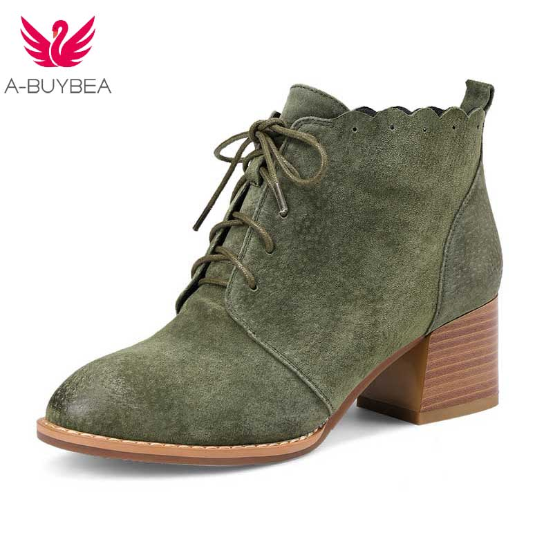 Women Casual Nubuck Genuine Leather Mid Heel Ankle Boots Shoes Ladies Lace up Footwear Female Round Toe Booties Shoes New Oxford цена