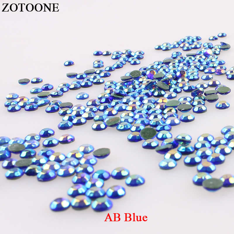 ZOTOONE ABBlue Hotfix Flatback Rhinestones Strass Nail Art Applique Iron On Rhinestones For Clothing Transfer Designs Decoration