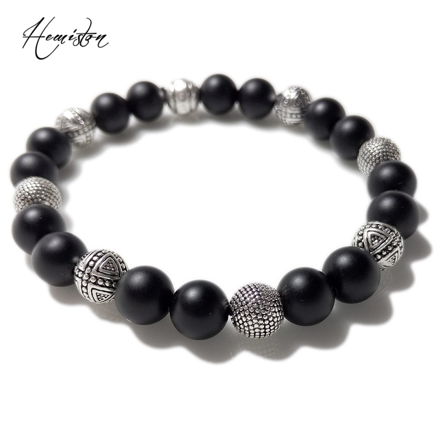 Thomas Style Black Obsidian Matted Bead and Hero Cross Bead Bracelet , TS Bracelet For Men
