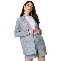 White pinestripe H line loose blazers for women ladies autumn basic formal office lady notched collar single button stripe coats