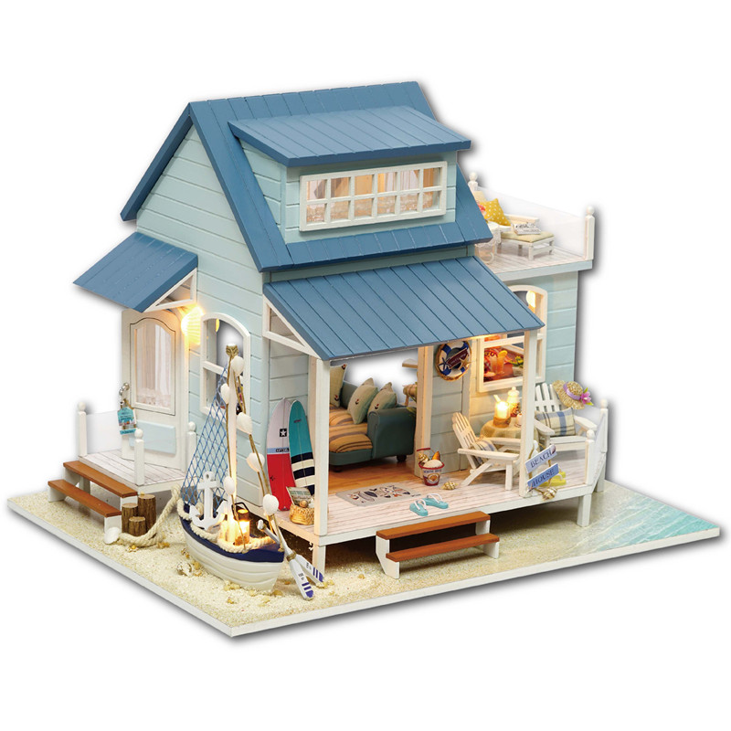 Lovely CuteRoom A-037-A Caribbean DIY Wooden Dollhouse Miniature Kit With Light Music Motor Best Gift For Children Girls