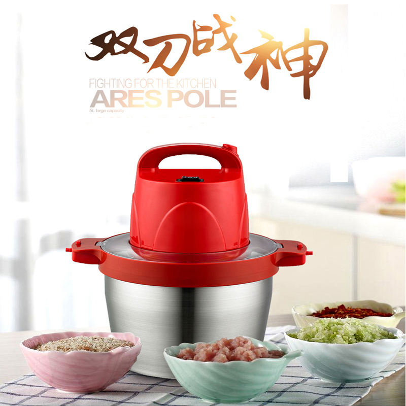 5L electric meat grinder stainless steel crushed meat garlic pepper ginger slice cuisine home use Mincer HB-808 1p