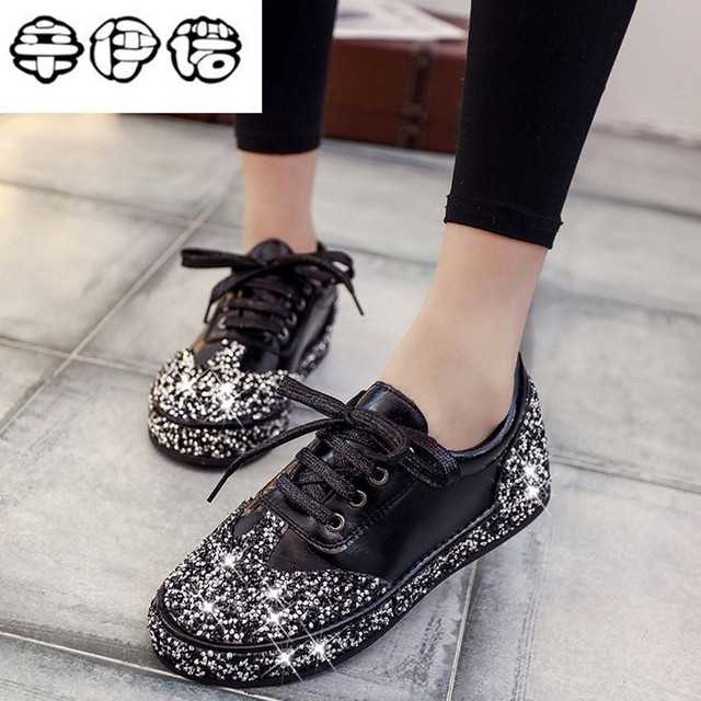 Women Casual Shoes Leather Do Old Dirty Shoes Mixed Color Women Shiny  Brilliant Sequins Fashion Star 3a27eb4dc661