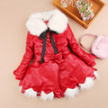 Girls Winter Coat 2017 New Year Winter Children Clothing Princess Girls Leather Coat High-end Fur Collar Baby Girl Clothes 3-15Y