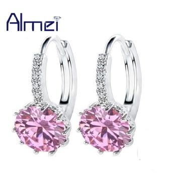 fc587856ce66 Almei rosa azul piedras de colores pendientes de tachuela para mujer boda  moda plata Color pendiente