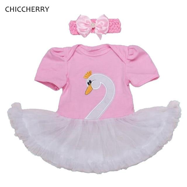 b560ba39c7587 Fashion 2017 White Swan Lace Tutu Baby Girl Party Dress Headband Toddler  Summer Dresses Vestido Infantil Newborn Infant Clothing-in Dresses from ...